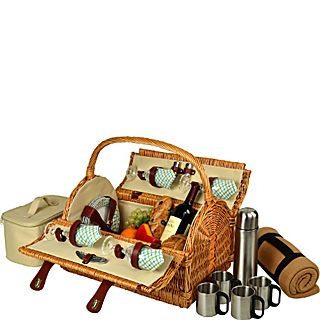 Picnic at Ascot Yorkshire Willow Picnic Basket with Service for 4,  Coffee Set and Blanket
