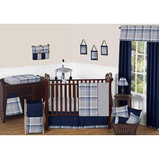 Sweet Jojo Designs Navy Blue and Gray Plaid 11 Piece Baby Crib Bedding Set    Sweet JoJo Designs