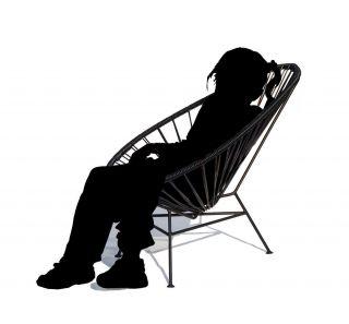 Mini Acapulco Children armchair Black by OK Design pour Sentou Edition