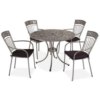 Home Styles 5607 308 Glen Rock 5 Piece Outdoor Dining Set in Gray Marble