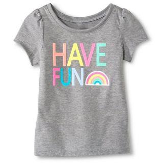 Toddler Girls Have Fun Short Sleeve Graphic Tee Gray   Circo