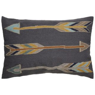 Tribal Pattern Gray/Yellow Wool and Cotton Feather Filled Throw Pillow