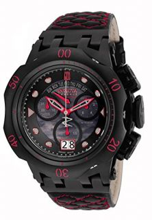 Invicta Jason Taylor Chronograph Black Dial Black and Red Leather Mens