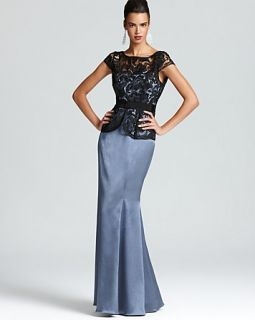Adrianna Papell Peplum Gown   Cap Sleeve Lace Top