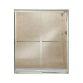 Sterling Finesse 54.625 in to 59.625 in W x 70.0625 in H Brushed Nickel Sliding Shower Door