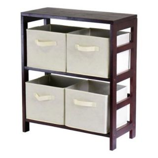 Winsome Leo 2 Section Wide Storage Shelf with 4 Foldable Beige Fabric Baskets