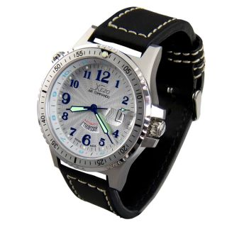 Xezo Mens Air Commando Swiss Automatic 2nd Time Zone Diver Watch