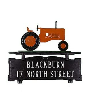 Montague Metal Products Two Line Mailbox Address Sign with Tractor; Orange