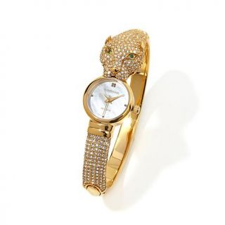 """Designer Watch Collection by Adrienne® """"Great Cat""""  Pavé Crystal Hin   7878847"""