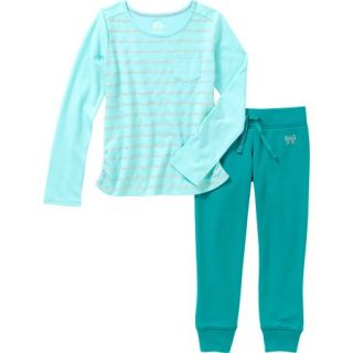 365 Kids from Garanimals Girls' Glitter Tee and Solid Jogger Outfit Set