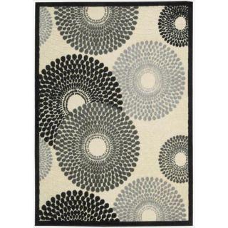 Nourison Graphic Illusions Circular Black Multi Color Rug (53 x 75