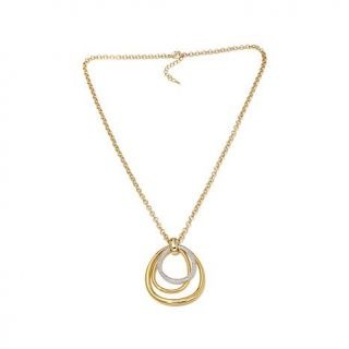 "Roberto by RFM ""Cerchi di Lusso"" Goldtone Pavé and Polished Loop Pendant   8151071"