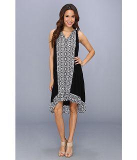 Karen Kane High Low Ruffle Hem Dress Black White
