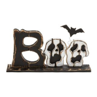 Woodland Imports Boo Wood Tabletop Skull Sign