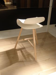 BCN Wood Bar stool   H 66 cm   Plastic & wood legs Natural wood / White by Kristalia