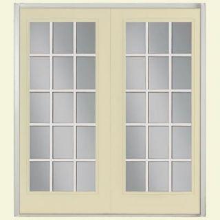 Masonite 72 in. x 80 in. Prehung Left Hand Inswing 15 Lite GBG Fiberglass Patio Door w/ No Brickmold in Vinyl Frame 43599