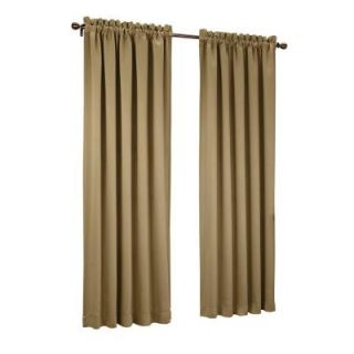 Sun Zero Taupe Gregory Room Darkening Pole Top Curtain Panel, 54 in. W x 63 in. L 43184