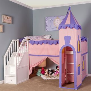 NE Kids Schoolhouse Princess Loft Bed with Stairs   Bunk Beds & Loft Beds