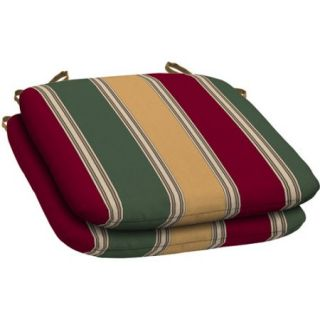 Mainstays Outdoor Resin Seat Pad, Set of 2, Red Green Tan Stripe