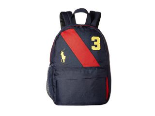Polo Ralph Lauren Kids Banner Stripe Ii Medium Backpack Navy Red Gold Logos
