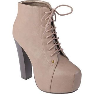 Brinley Co Women's Lace up High Heel Booties