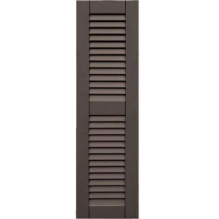 Wood Composite 12 in. x 42 in. Louvered Shutters Pair #641 Walnut 41242641   Mobile