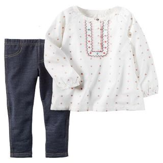 Carter's Girls 2 Piece Ivory Embroidered Front Button Placket Top and Navy Jegging Set   Toddler    Carters