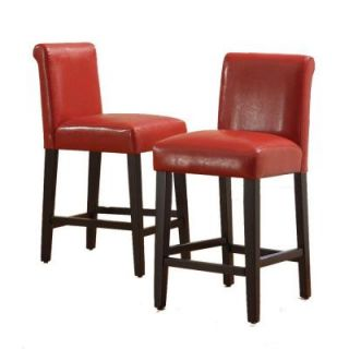 Home Decorators Collection 24 in. H Burgundy Wine Faux Leather Bar Stools (Set of 2) DISCONTINUED 40859C470W(3A)[2PC]