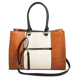 Womens Color Block Tote Handbag with Zip Front Pocket Cognac   Merona