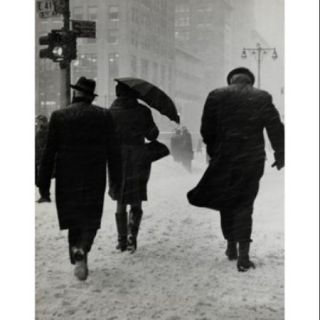 Group of people walking on a snow covered road during a blizzard, New York City, USA Poster Print (18 x 24)
