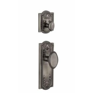 Grandeur Parthenon Single Cylinder Antique Pewter Combo Pack Keyed Alike with Eden Prairie Knob and Matching Deadbolt PAREDN 68 AP KA