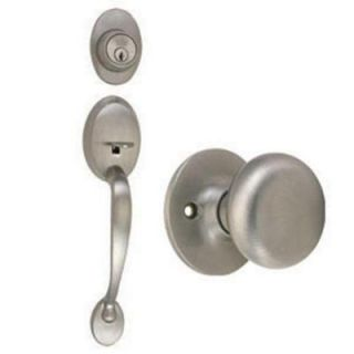 Design House Coventry Satin Nickel Handleset with Single Cylinder Deadbolt, Cambridge Knob Interior and Universal 6 Way Latch 754549