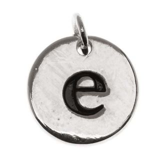 Lead Free Pewter, Round Alphabet Charm Lowercase Letter 'e' 13mm, 1 Piece, Silver Plated