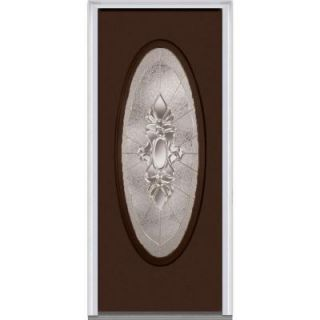 Milliken Millwork 30 in. x 80 in. Heirloom Master Decorative Glass Full Oval Lite Painted Majestic Steel Prehung Front Door Z002562L