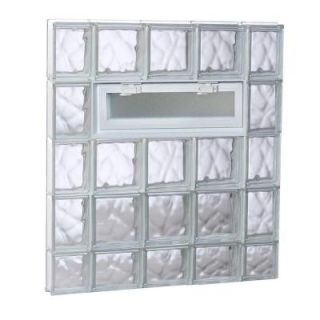 Clearly Secure 34.75 in. x 36.75 in. x 3.125 in. Vented Wave Pattern Glass Block Window 3638VDC