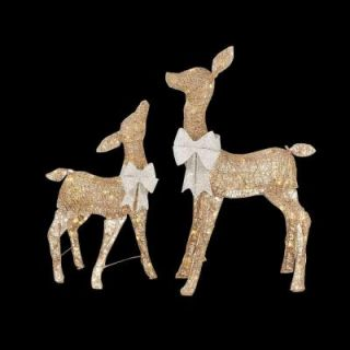Home Accents Holiday 36 in. LED Lighted Gold PVC Deer and 28 in. LED Lighted Gold PVC Doe TY478+478 1611