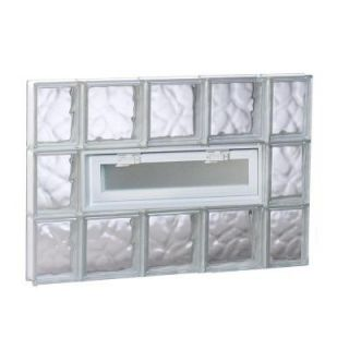 Clearly Secure 34.75 in. x 23.25 in. x 3.125 in. Vented Wave Pattern Glass Block Window 3624VDC