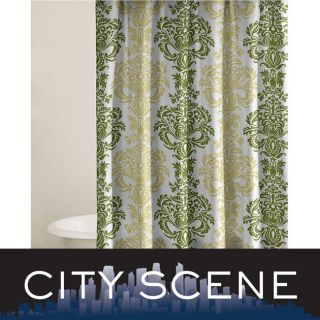 City Scene Damask Key Lime Cotton Shower Curtain   12998067