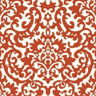 The Wallpaper Company 56 sq. ft. Yin Yang Damask Red Wallpaper WC1287313