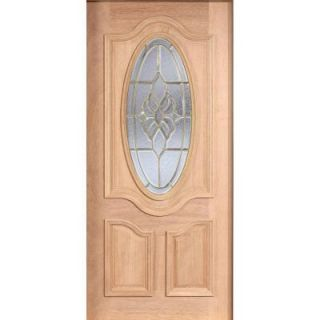 Main Door 36 in. x 80 in. Mahogany Type Unfinished Beveled Brass 3/4 Oval Glass Solid Wood Front Door Slab SH 557 UNF B