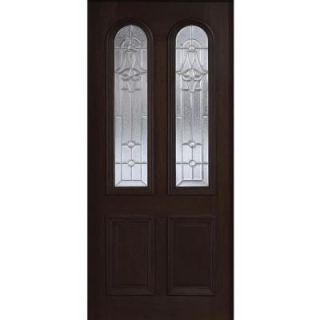 Main Door 36 in. x 80 in. Mahogany Type Twin Arch Glass Prefinished Espresso Beveled Zinc Solid Wood Front Door Slab SH 552 ES BZ