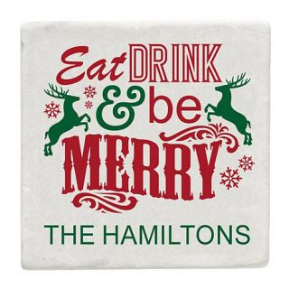 Personal Creations Set of 4 Personalized Eat Drink & Be Merry Coasters   8258516