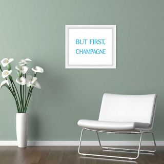 But First, Champagne Giclée Framed Textual Art in Blue by PTM Images