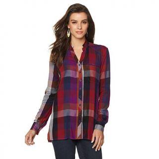 Melissa McCarthy Seven7 Plaid Button Up Hi Low Shirt   Missy   8114369