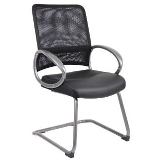Mesh Back with Pewter Finish Guest Chair Black   Boss Offices